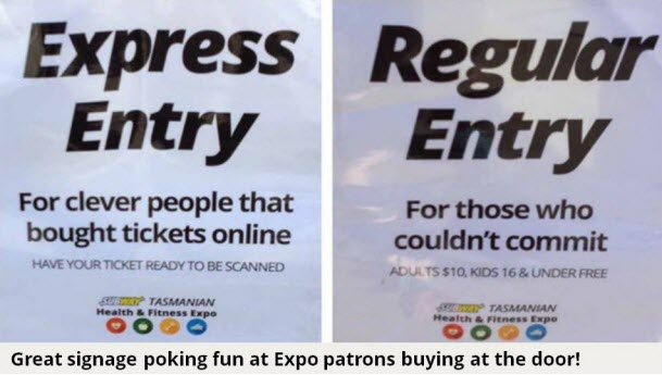 Online ticket buyers versus door sales ticket holders